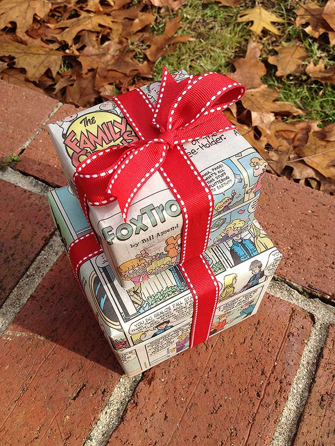Funny Wrap-Up is a fun, festive way to use the Sunday morning paper.