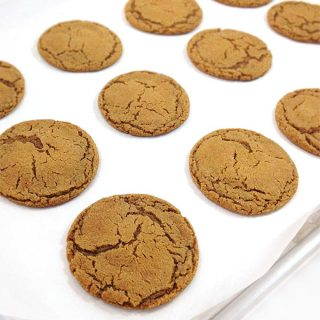 Best Gingersnaps ever. Crackly and crunchy on the outside, chewy in the center. These Gingersnaps are spicy and sweet, great with milk or a mug of chai tea.
