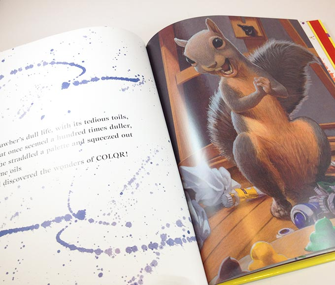Micawber. Fun picture book for artists of all ages. Micawber is a feisty squirrel in Central Park, New York. Author - John Lithgow, Illustrator - C.F. Payne