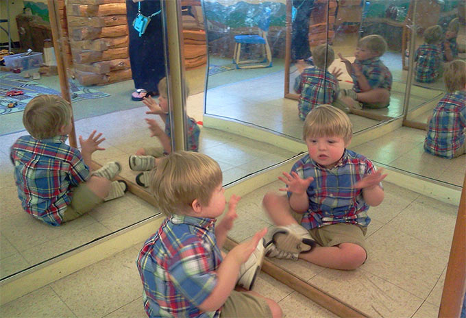 They didn't know that Hudson would be mesmerized by his own reflection. That his best friend would be that other little person he sees in the mirror.