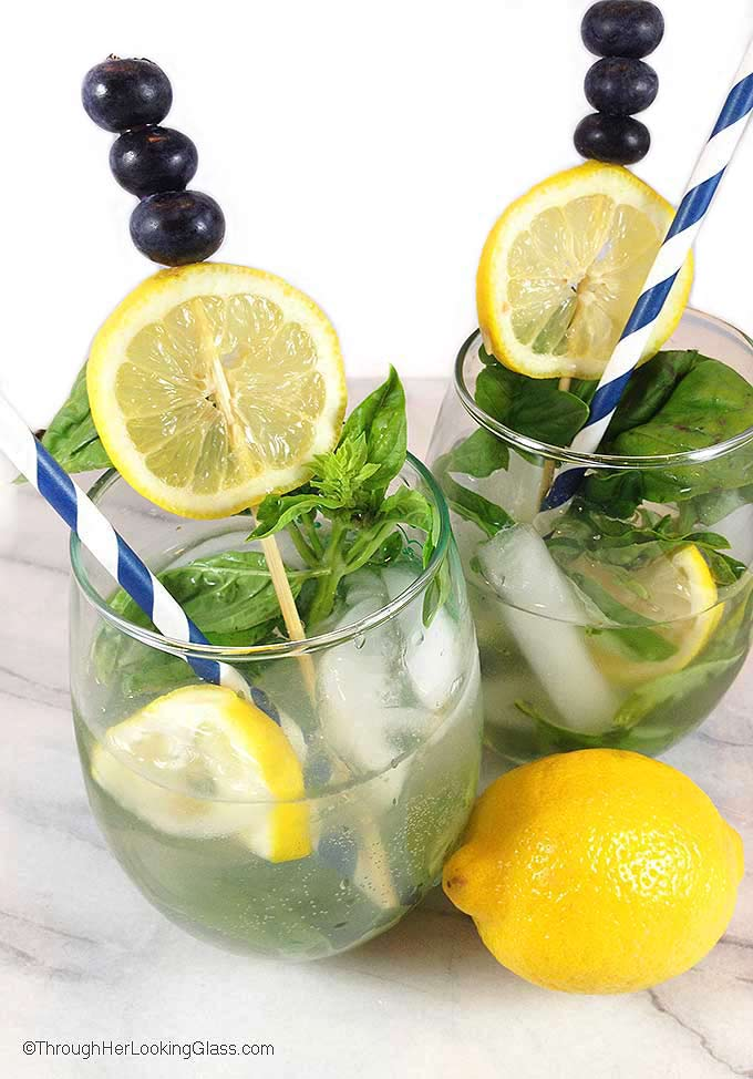 Blueberry Basil Mojito: A refreshing cocktail perfect for patio or poolside. Cointreau, Cold River Blueberry vodka and lemons mingle for the perfect mojito.