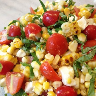 Grilled Corn, Basil & Tomato Salad w/Feta