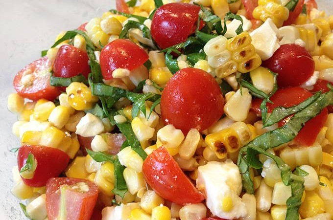 This Grilled Corn Basil and Tomato Salad brings fresh and summer straight to your next picnic, barbecue or luncheon.