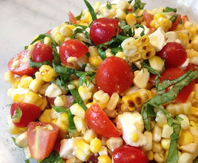 ... virgin grilled corn tomato bacon and arugula salad with tomato basil