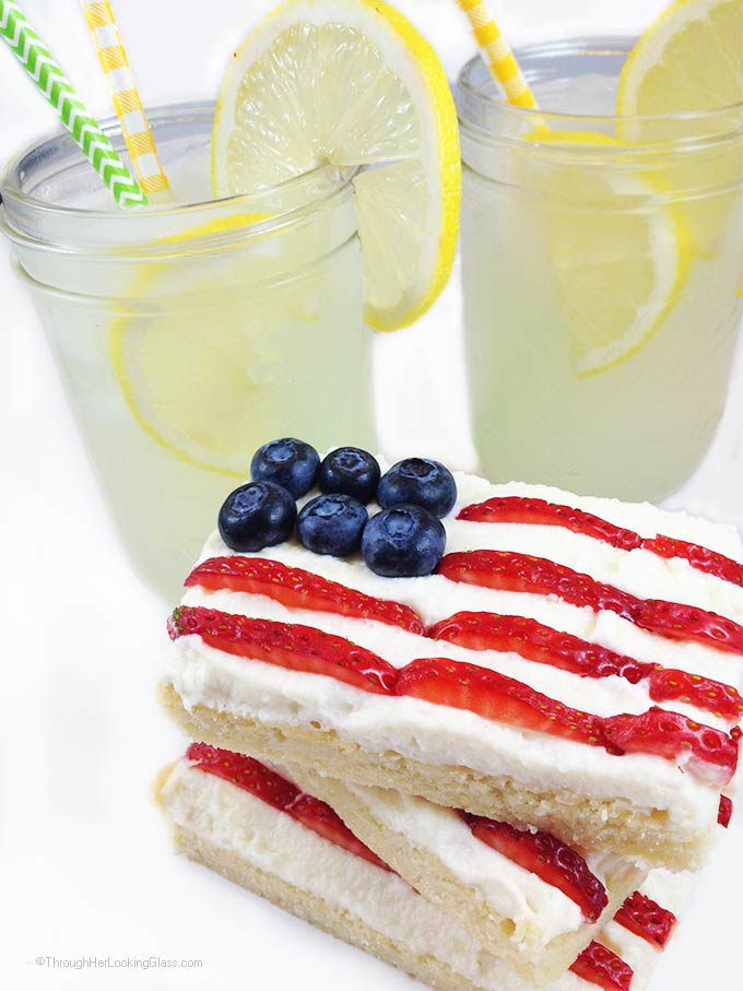 Stars & Stripes Mascarpone Shortbread. Crunchy shortbread & summer berries. Festive & fun! Mini flag dessert for 4th of July, Labor Day & Memorial Day.