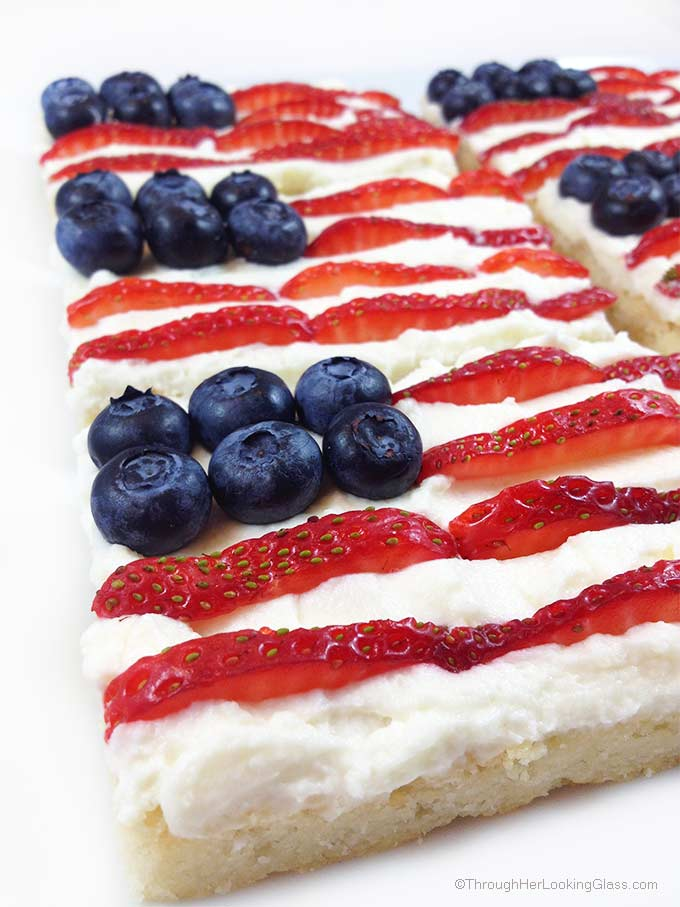 Cookout & Barbecue Inspiration. Star Spangled Berry Mascarpone Shortbread. Crunchy shortbread & summer berries. Festive & fun! Mini flag dessert for 4th of July, Labor Day & Memorial Day.
