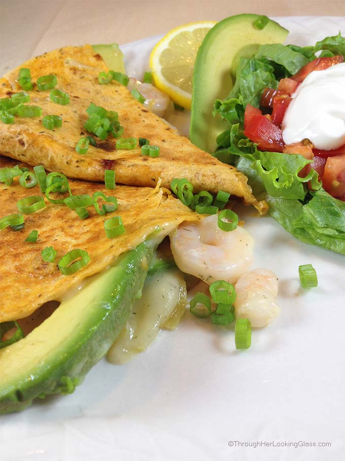 Summery Quesadilla De Marisco. Stuffed with fresh avocado slices, shrimp, melted Havarti dill cheese and green chilies. Light, fresh and delicious!
