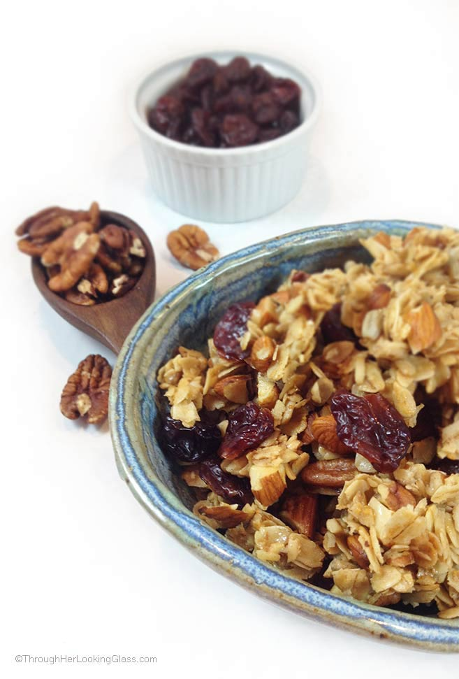 Cherry Pecan Granola. Absolutely scrumptious. Clean-eating. Sunflower seeds, almonds, pecans, rolled oats, dried cherries, honey. Gluten-free.
