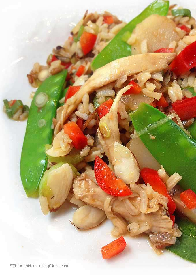 Oriental Chicken Salad. Delicious chicken and wild rice main dish salad with an oriental flair. Lots of fresh veggies and sesame hot oil for a little heat!