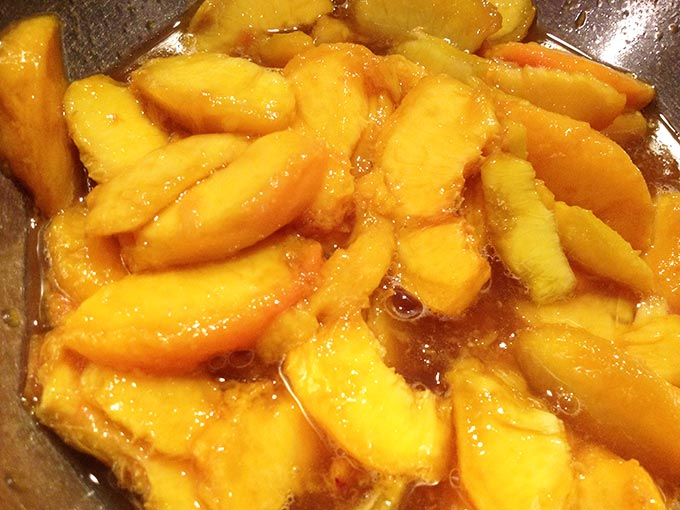 Peach Cobbler. The batter underneath cooks, bubbles up all around the peaches. Gets all crispy and yummy on the edges. It's really fabulous.
