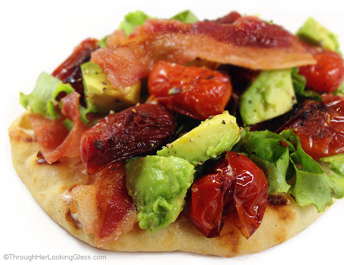Blistered Tomato BLT Avocado Flatbread. I couldn't resist blistering the tomatoes and adding chopped avocado to this flatbread. The results were phenomenal.