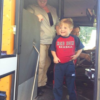 Hudson & the Yellow School Bus. Hudson is 5, has Down syndrome. I was worried about him riding the bus. This is Hudson's story of his beloved yellow bus.