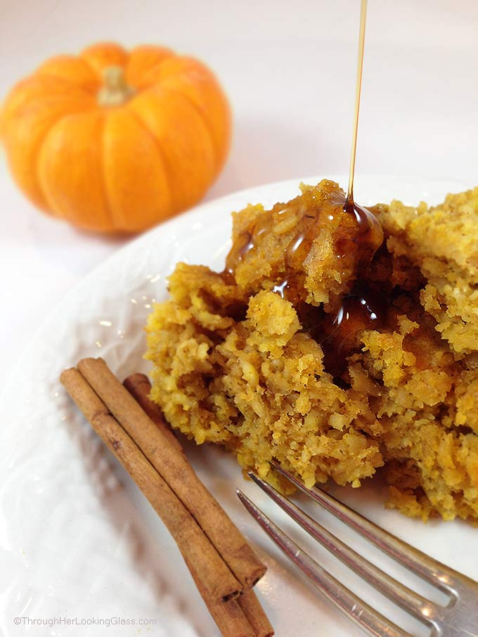 "Maple Pumpkin Pie Baked Oatmeal. Easy weekday or weekend breakfast. Makes a 9 X 13"" panful. Easy & delicious baked oatmeal recipe, sweetened w/ maple syrup."