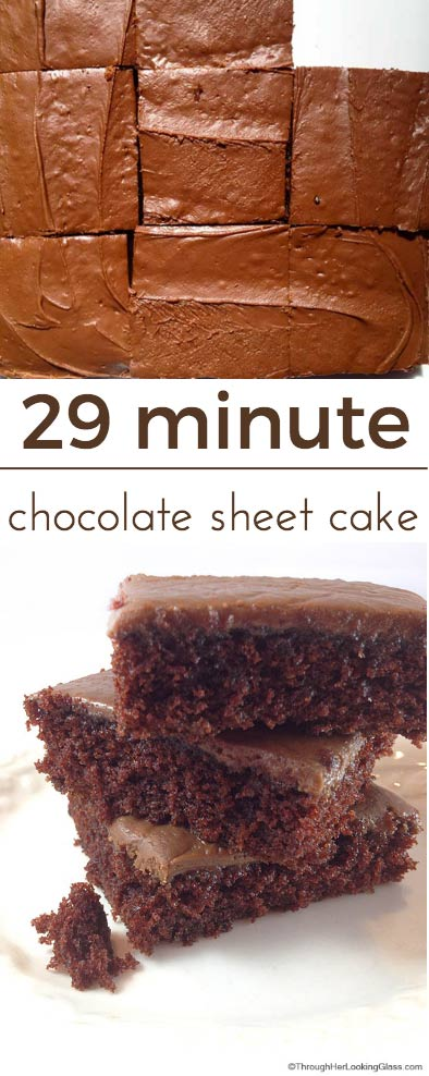 You really can bake and frost the 29 Minute Decadent Chocolate Sheet Cake in twenty nine minutes. It's quick to make, perfect for the chocolate lover!