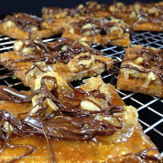 Chocolate Drizzled Toffee Squares