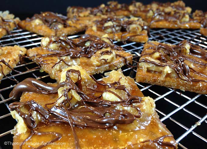 Chocolate Drizzled Toffee Squares - Through Her Looking Glass