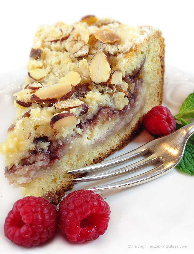 Raspberry Cream Cheese Coffee Cake: Almond cake, cream cheese filling ...