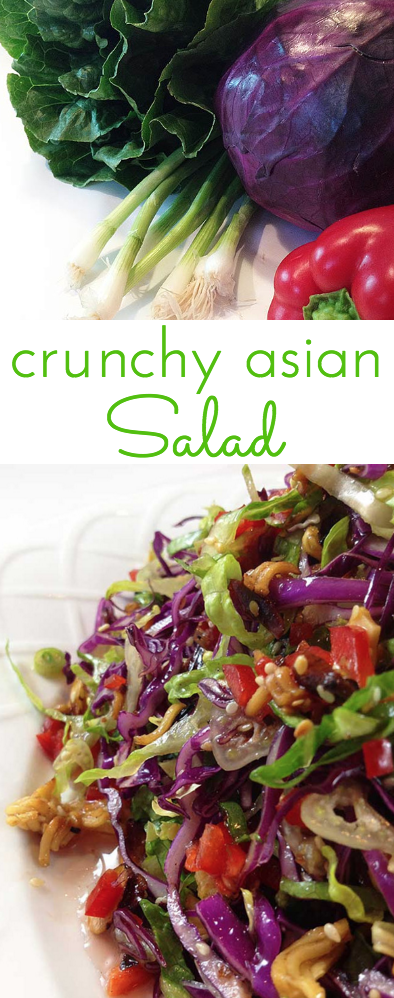 Crunchy Asian Salad with light, sweet dressing. Gorgeous salad with big crunch. Cabbage, red peppers, toasted ramen noodles, almonds and sesame seeds.