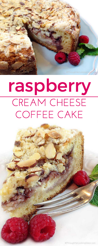 Raspberry Cream Cheese Coffee Cake: Almond cake, cream cheese filling ...