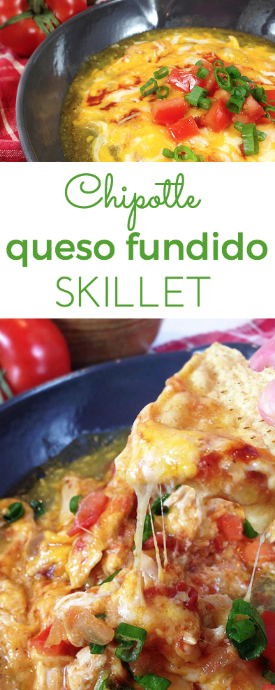 Chipotle Queso Fundido Skillet. Melty, stretchy, molten cheese. Shredded chicken and salsa, tomatillo & chipotle sauces. Smoky, spicy and sweet!