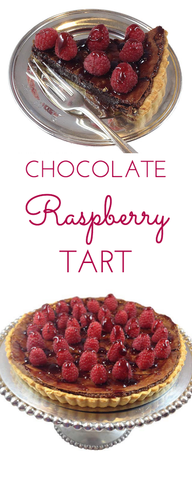 Chocolate Raspberry Tart. A stunning, elegant dessert perfect for any special occasion. The perfect ending to a wonderful meal.