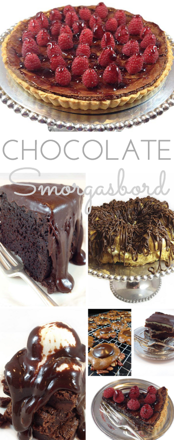 Chocolate Smorgasbord: easy, decadent chocolate recipes for all the chocolate lovers. Cake, eclair cake, brownies, turtles, chocolate cake and more!