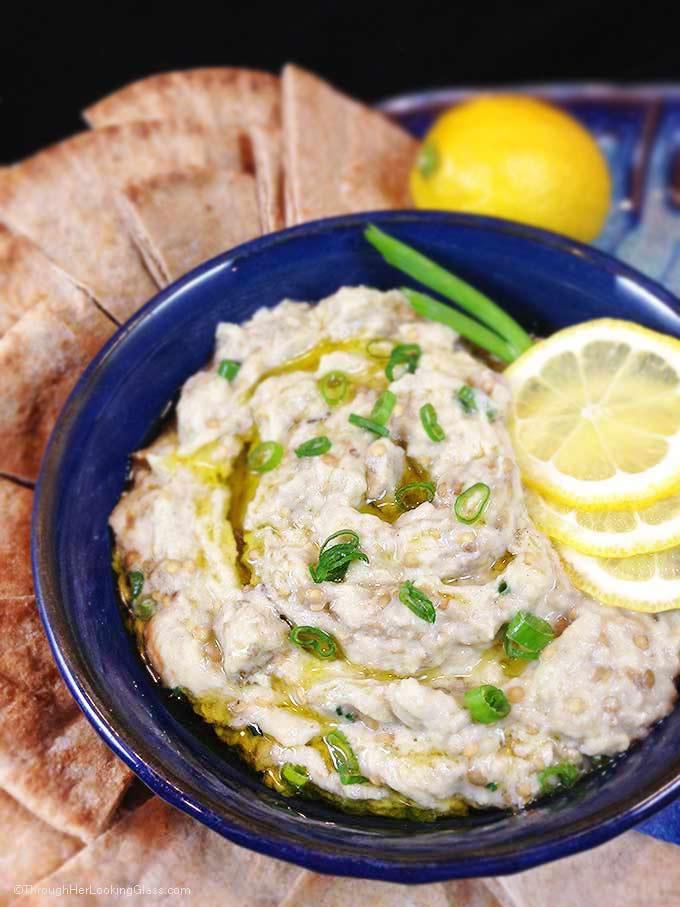 Baba Ghanoush Roasted Eggplant Dip: healthy and addictive! Delicious Middle Eastern dip for fresh veggies or pita bread. Garlic, tahini & fresh lemon juice!