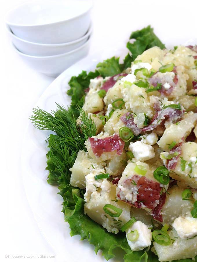 Gourmet Fresh Dill Red Potato Salad with Feta. Olive oil, garlic, fresh dill and feta cheese mingle with tender new potatoes. Always goes FAST!