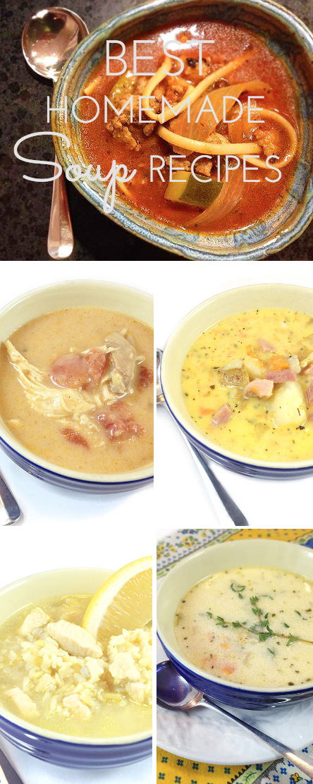 Five best homemade soup recipes! Ham & Cheese, Arroz Caldo, Chicken Enchilada, Hearty Italian Sausage and Simon Pearce Vermont Cheddar. Easy and delicious.