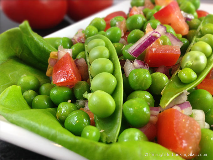 Four Ingredient Easy Pea Salad. Just four ingredients to this pretty & delicious pea salad. Five minutes to the perfect side dish in spring and summer.