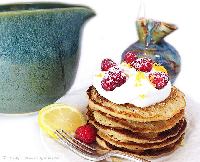 Healthy Lemon Poppy Seed Pancakes with white whole wheat flour! Light, delicious and easy. Make a double recipe!