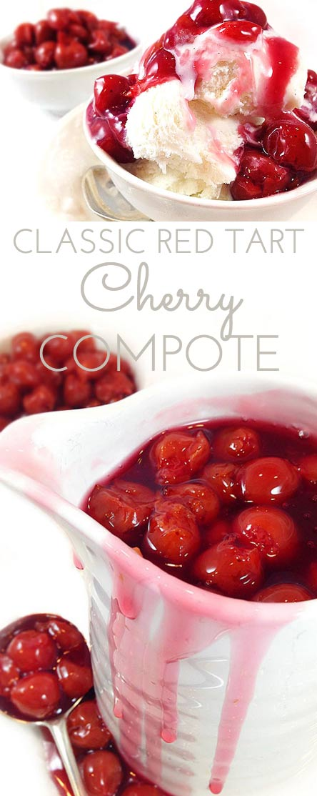 Classic Red Tart Cherry Compote is a delicious homemade cherry sauce made from tart cherries. Use on ice cream, cake, yogurt, ham, pork. Or by the spoonful!