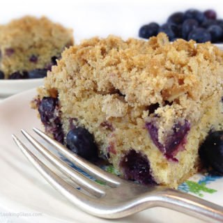 Healthier Oatmeal Streusel Blueberry Breakfast Cake. Tender coffee cake packed w/plump blueberries. White whole wheat flour & coconut oil. A healthier breakfast option.