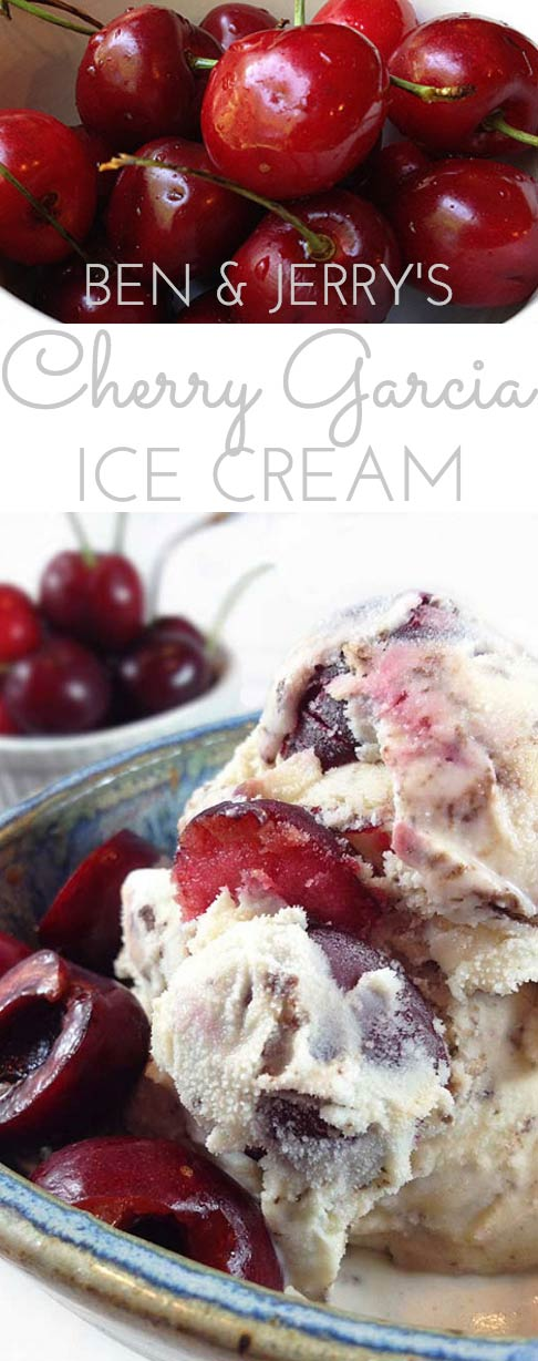 Ben & Jerry's Cherry Garcia Ice Cream is packed with grated chocolate and fresh cherries! A delicious ice cream for all the chocolate and cherry lovers!