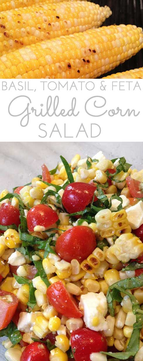Grilled Corn, Basil  Tomato Salad w/FetaThrough Her Looking Glass