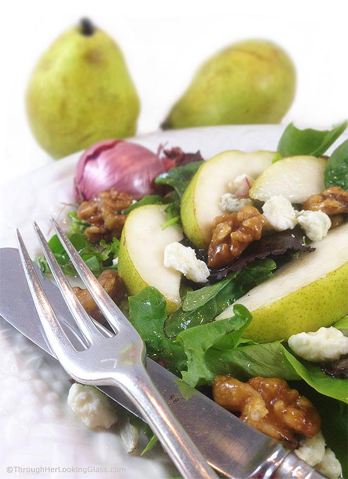 Pear, Walnut, And Gorgonzola Salad Recipe — Dishmaps