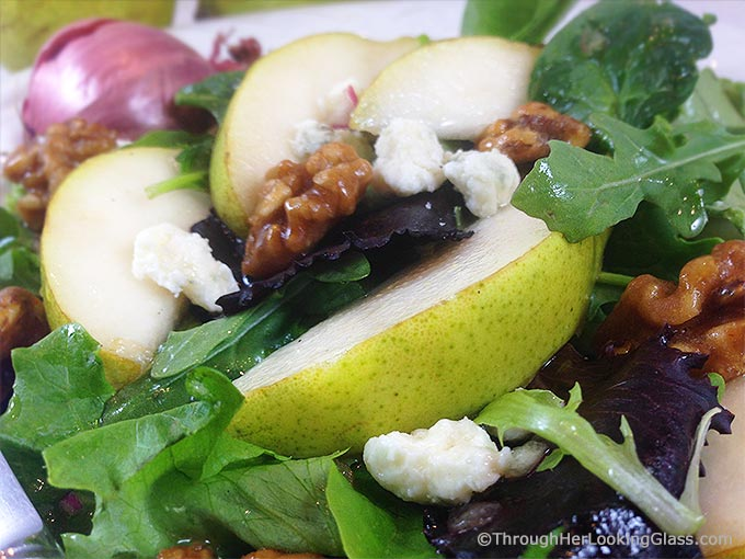 Pear Gorgonzola Salad w/Walnuts & Maple vinaigrette: addictive salad. Sweet maple vinaigrette w/pure maple syrup & shallots complements pears & greens.