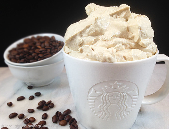 Starbucks Coffee Whipped Cream flavored w/Starbucks coffee! Extra panache for desserts, hot chocolate & iced coffee! Excellent on chocolate desserts!