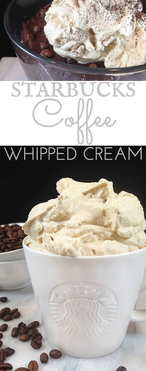 Starbucks Coffee Whipped Cream flavored w/Starbucks coffee! Extra panache for cakes, pies, ice cream, desserts, parfaits, hot chocolate, frozen drinks & iced coffee! Excellent for chocolate desserts.