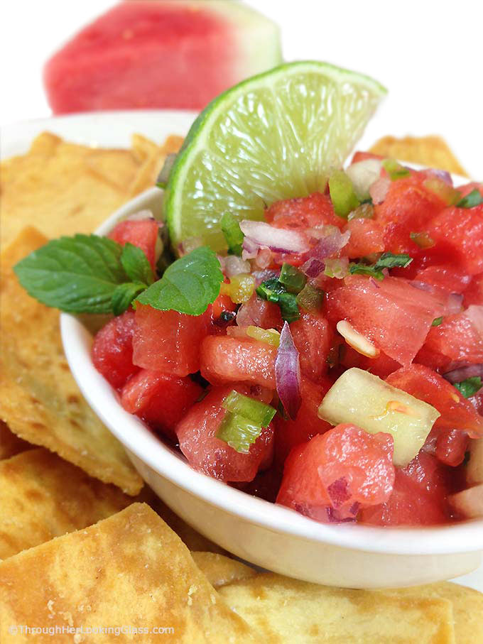 Watermelon Salsa: sweet & spicy. Refreshing in summer. Watermelon, honeydew, jalapeno, sweet red onion, cilantro and mint! Perfect summer salsa twist!