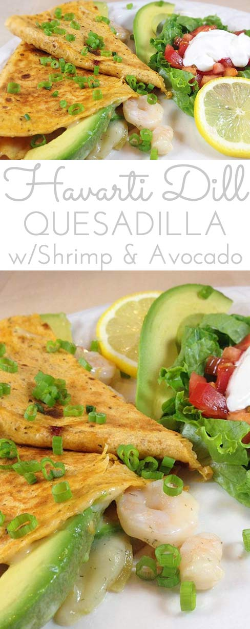 Summery Quesadilla De Marisco. Stuffed with fresh avocado slices, shrimp, melted Havarti dill cheese and green chilies. Light, res and delicious!