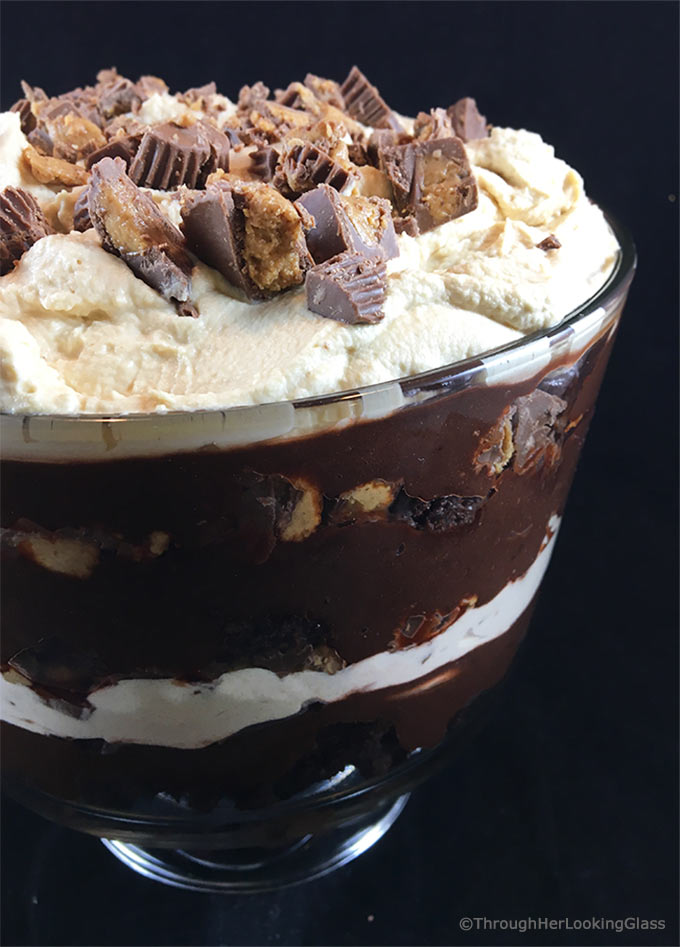 Chocolate Peanut Butter Trifle with Peanut Butter Whipped Cream only looks hard to make! Brownie crumbles, homemade peanut butter whipped cream and creamy chocolate pudding layer with chopped peanut butter cups.