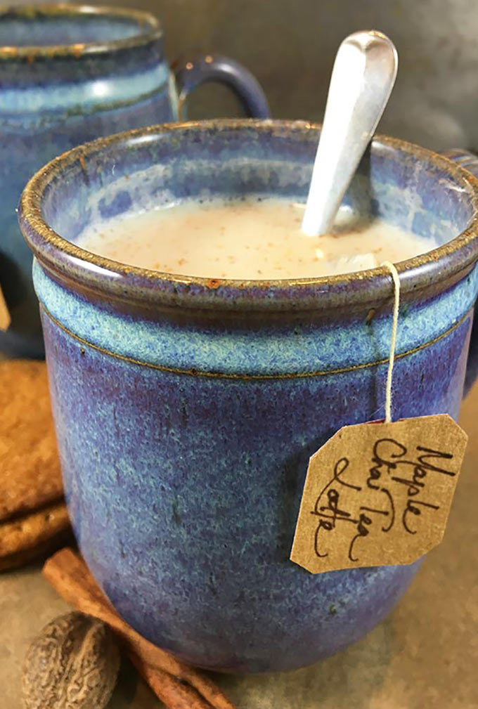 Maple Chai Tea Latte is a spicy, comforting hot drink for chilly winter days. Chai tea leaves are steeped in milk with pure vanilla & maple syrup!