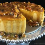 Maple Pumpkin Cheesecake w/Maple Praline Pecan Sauce. Creamy pumpkin cheesecake with a hint of maple smothered in buttery maple praline pecan sauce!