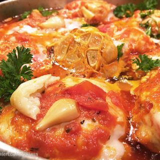 Roasted Garlic Chicken Parm Skillet w/Roasted Red Peppers