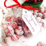 Festive Sugared Cranberries. Bursting w/flavor that pops in your mouth. Sweet & tart. Tangy & addictive. Perfect cheesecake garnish, snack, stocking stuffer or gift. Pretty and delicious on the cheese tray.