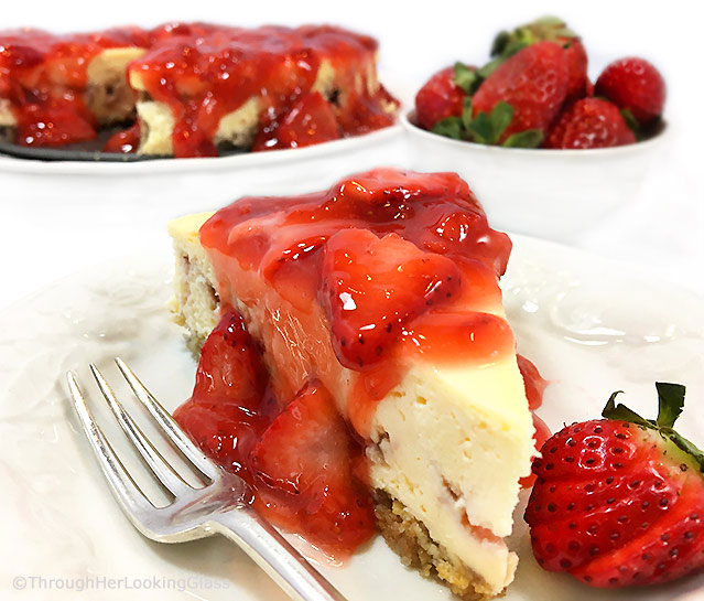 This rich & creamy Strawberry Cheesecake Recipe is the perfect make ahead dessert. Bake the cheesecake, ladle on fresh strawberry sauce before serving.