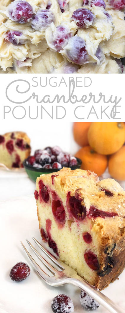 Sugared Cranberry Pound Cake. Scratch-made, buttery almond pound cake studded with sugared cranberries for a sweet and tart treat that's festive and irresistible on the dessert table.