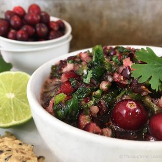 Sweet and tart, tangy and addictive: that's Sweet Lime Cranberry Salsa in a nutshell. So festive and pretty served with fresh cheeses and crackers on the appetizer sideboard.