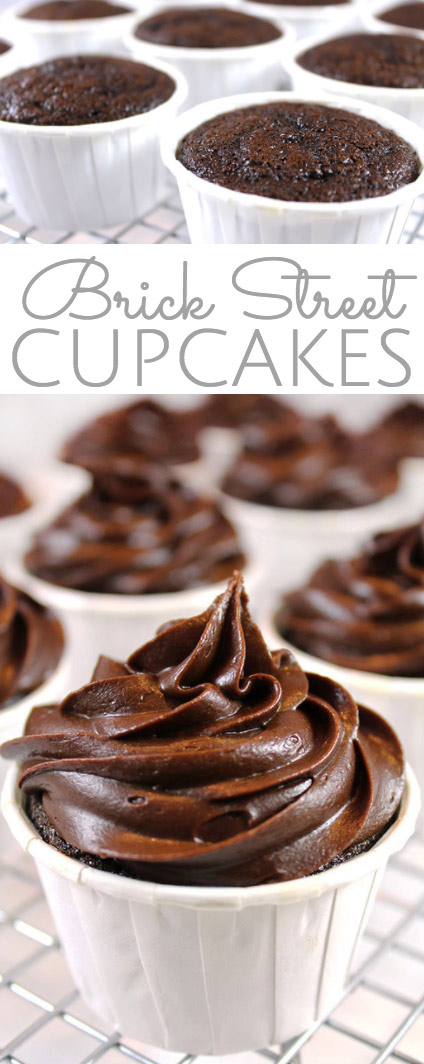 Brick Street Chocolate Cupcakes: everything you love about the decadent Famous Brick Street Chocolate Cake, but in cupcake form. Individual rich, dense chocolate cupcakes with thick, chocolate ganache frosting.